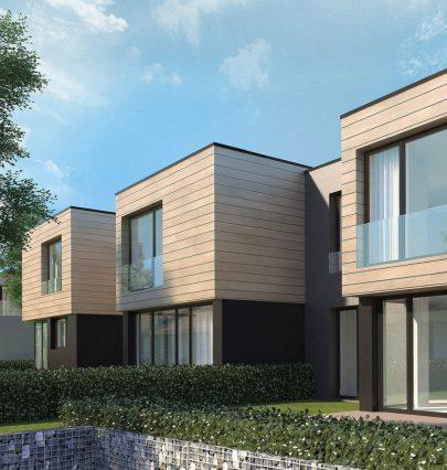 Moderní architektura a minimalistický design pěti nových vil bude součástí areálu Jinonického dvora.