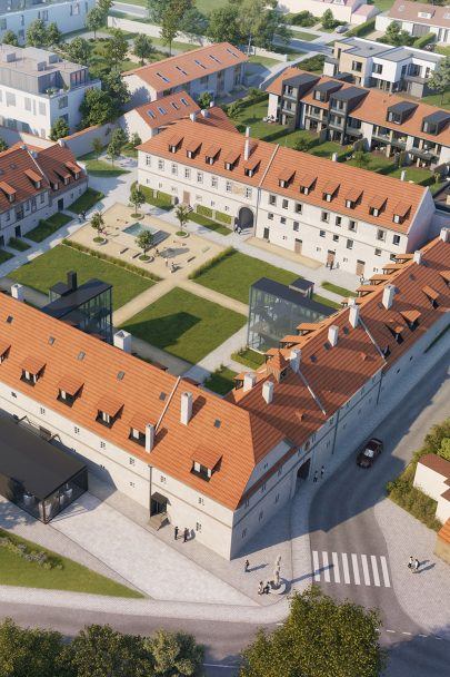 Several tens of apartments, luxurious villas and a restaurant with brewery. A new face of Jinonice Château by our design