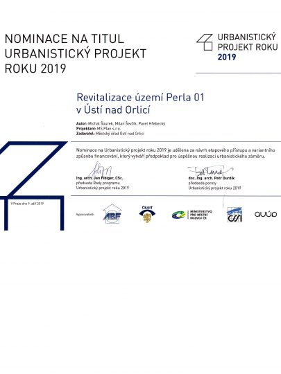 Our design and zoning plan for Perla 01, the brownfield in Ústí nad Orlicí is one of the three projects nominated for the 2019 Urban Project
