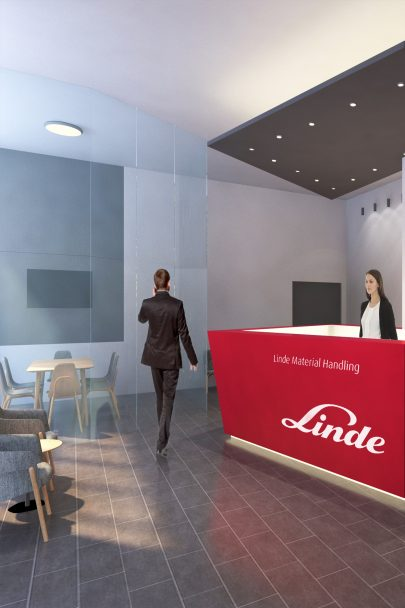 We designed the reception and conference room for Linde company