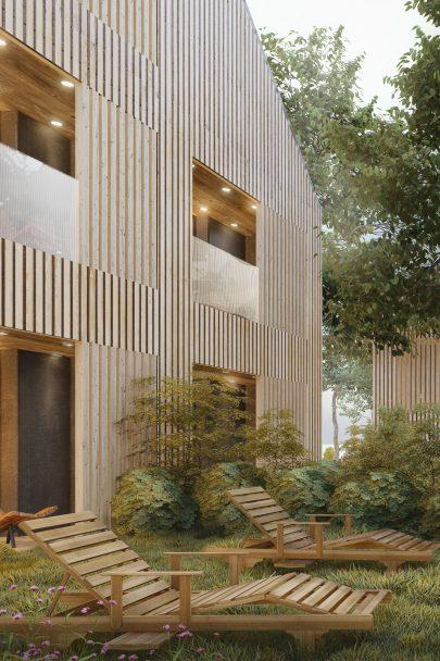 V duchu architektonické a stavitelská tradice Šumavy jsme navrhli dvojice samostatných budov horského penzionu