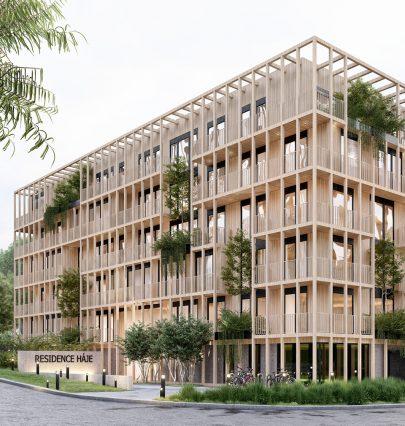 Kombinací klasických materiálů: betonu, dřeva a skla jsme vnávrhu vytvořili netradiční fasádu rezidence Háje protkanou vertikální zahradou