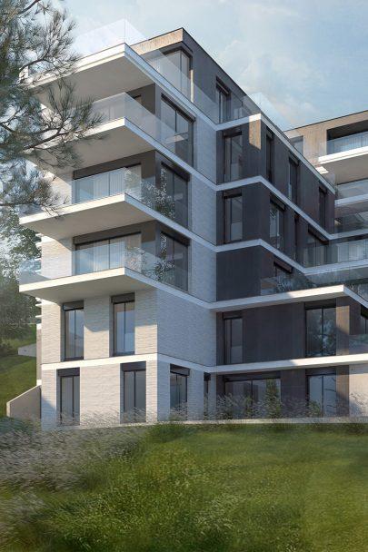 Na jižním úbočí Dívčích hradů se bude stavět. Navrhli jsme bytový dům s dvanácti velkorysými byty a výhledem na vltavské údolí