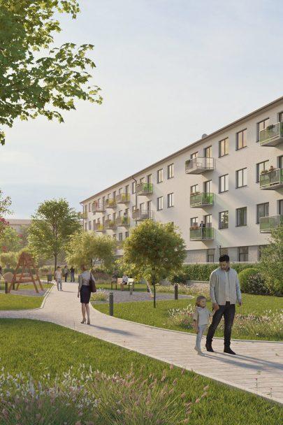 Uhlíkově neutrální přestavba dvou budov bývalé učňovské školy v Ostravě na udržitelné bydlení podle našeho návrhu a projektu má stavební povolení