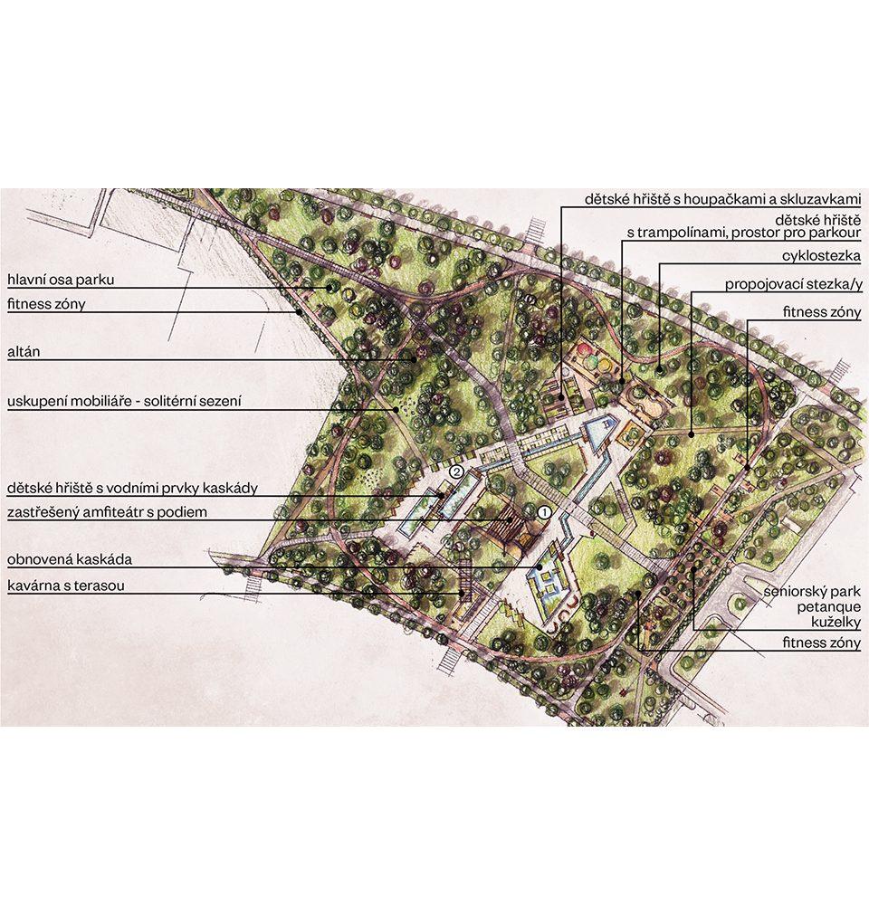 Navrhli jsme revitalizaci zanedbaného parku Střed v Mostě