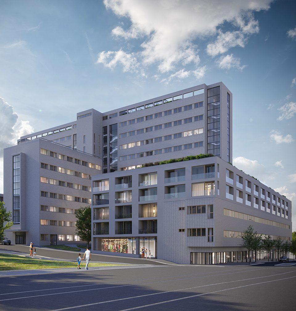 Navrhli jsme komplexní revitalizaci, konverzi a dostavbu funkcionalistického paláce Všeobecného penzijního ústavu na Praze 3.