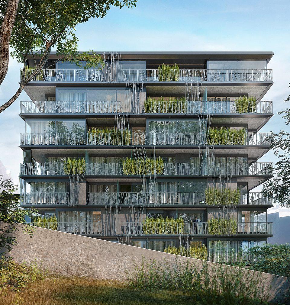 Let's recall our design of Nová Landhauska apartment building