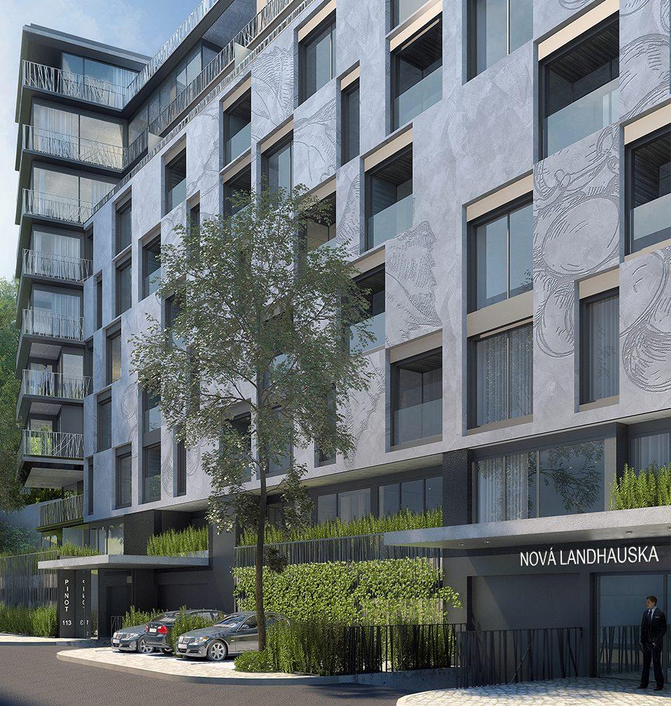 Připomeňte si s námi náš návrh bytového domu Nová Landhauska