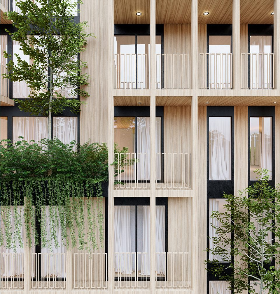 In the design, unusual façade of Háje, the residential quarter woven with the vertical garden, was created combining concrete, wood and glass