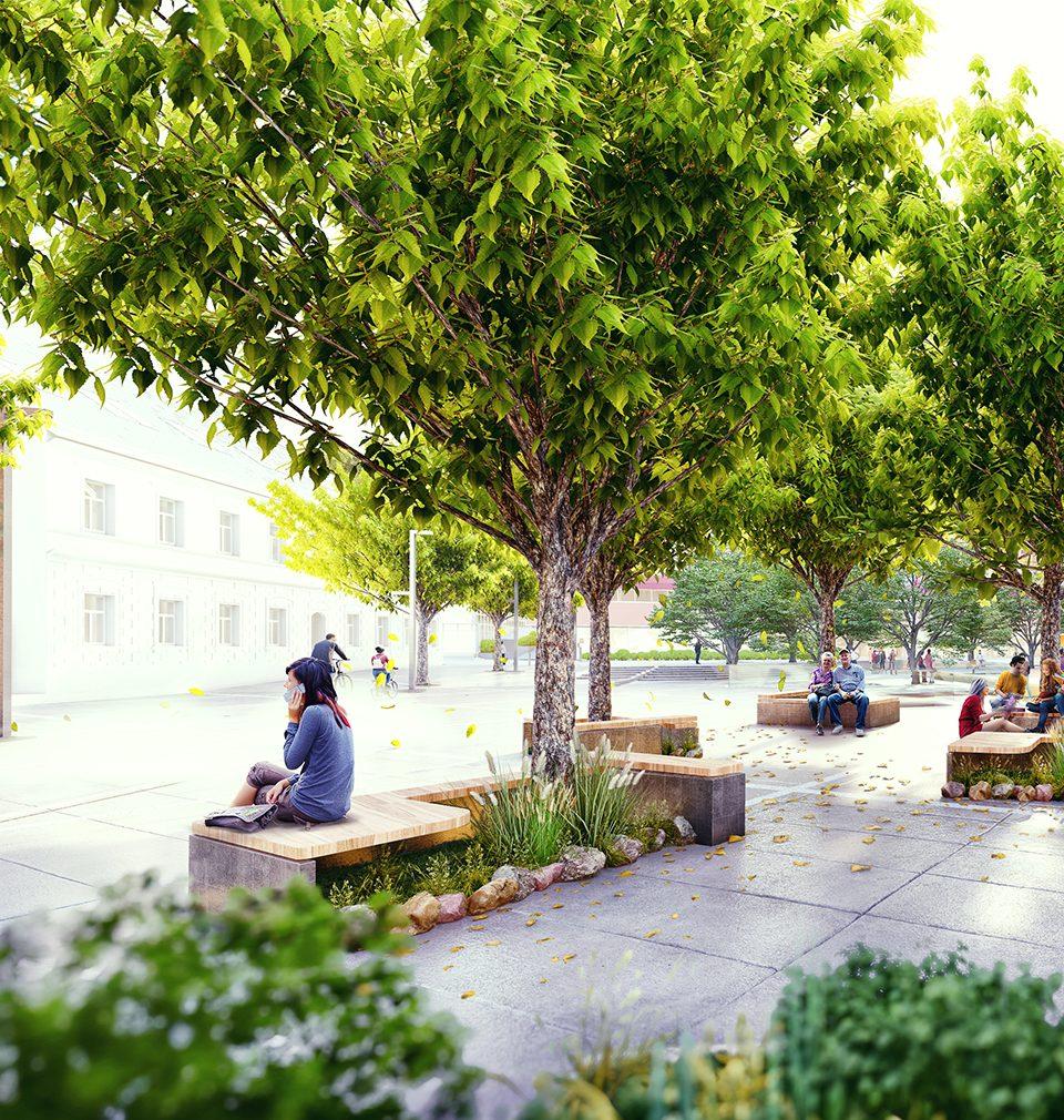 Navrhli jsme nový veřejný prostor moderního předměstí historického centra města Trenčín