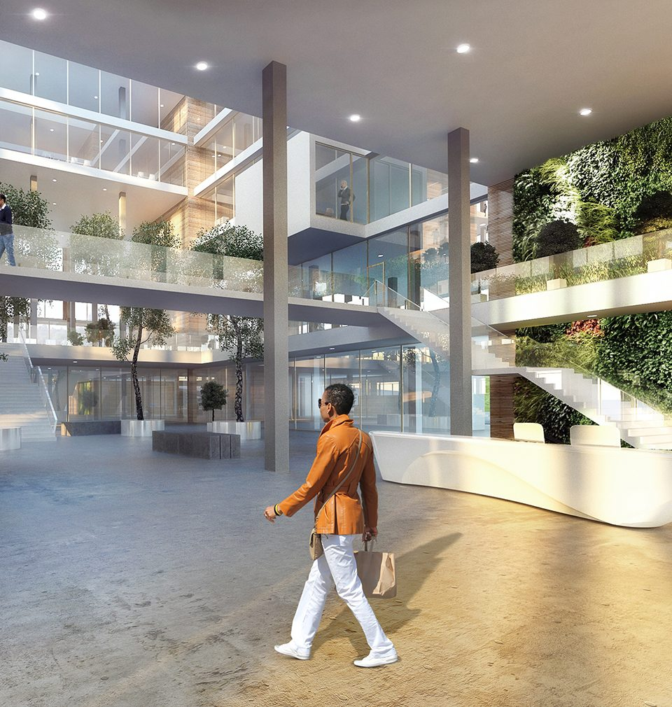 Radical alteration of the saggy office building into a modern hotel