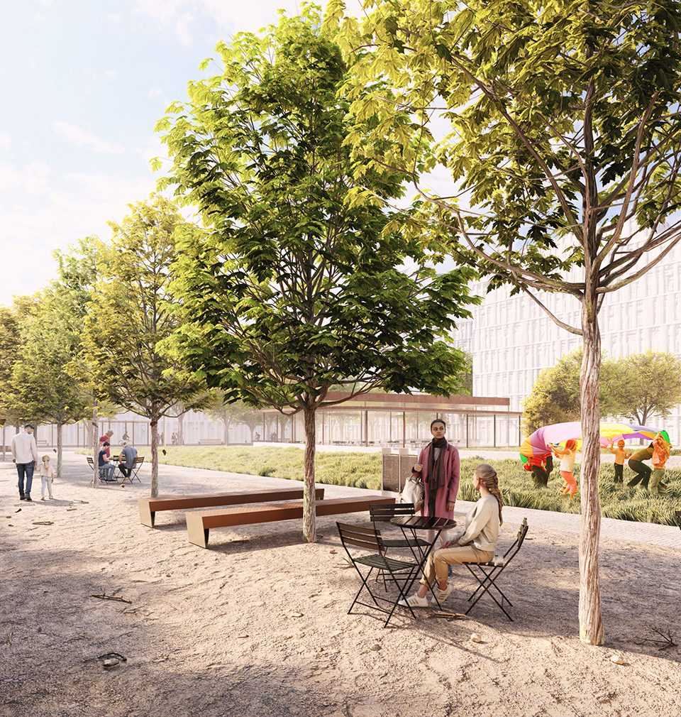 Smíchov City will have a quality public space consisting of the boulevard for pedestrians and two city parks designed by our studio