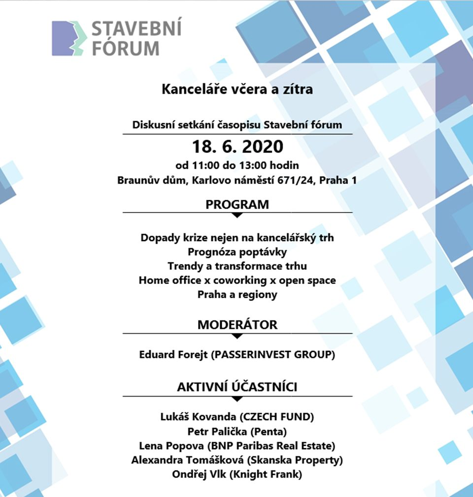MS architekti is the main partner of the discussion meeting on presence and future of offices to be hold by Stavební fórum on 18 June 2020