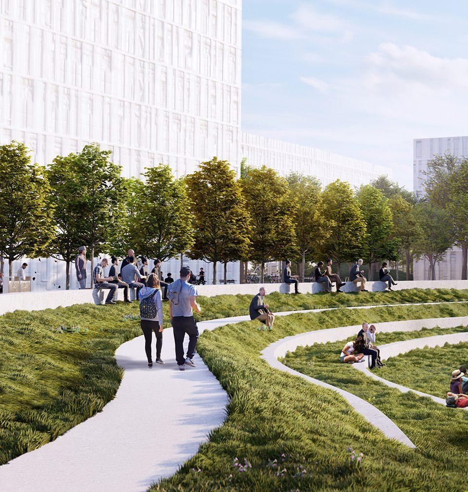 Plánovaná čtvrť Smíchov City získá pěší bulvár se zahradním pavilonem a dva městské parky s amfiteátrem, dětskými a sportovními hřišti podle našeho návrhu a projektu