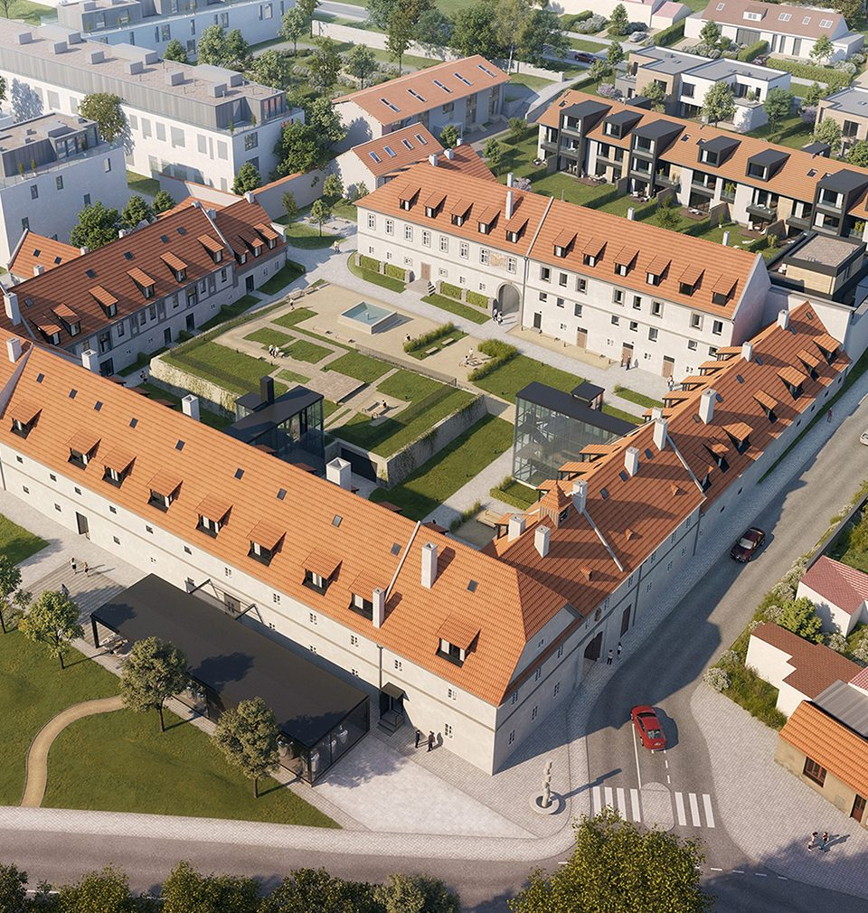 The construction of twenty apartments at Jinonický dvůr designed by our studio near the historical settlement proceeds as planned