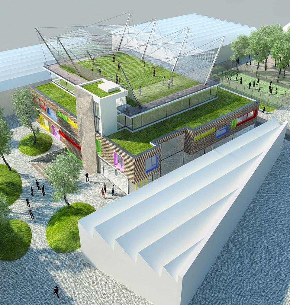 Dům dětí a mládeže bude první novostavbou našeho masterplanu, která vznikne v revitalizovaném areálu opuštěné textilky Perla 01
