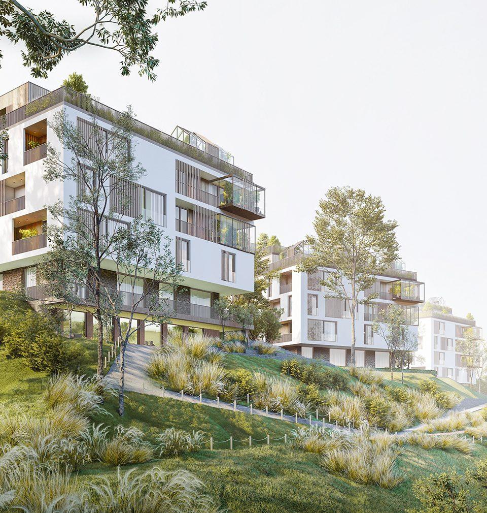 Navrhli jsme trojici uhlíkově neutrálních bytových domů, které nabízí soukromé i komunitní zázemí obklopené vitálním veřejným prostorem