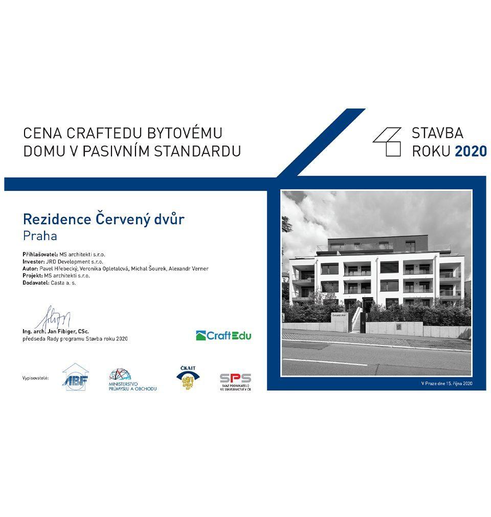 Prestigious CraftEdu award goes to our Červený Dvůr building