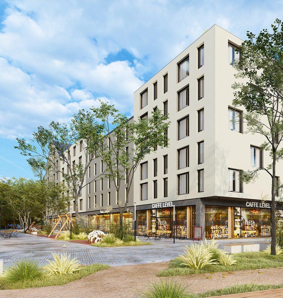 V sousedství centra města Náchod jsme navrhli atraktivní veřejný prostor a uhlíkově neutrální polyfunkční výstavbu