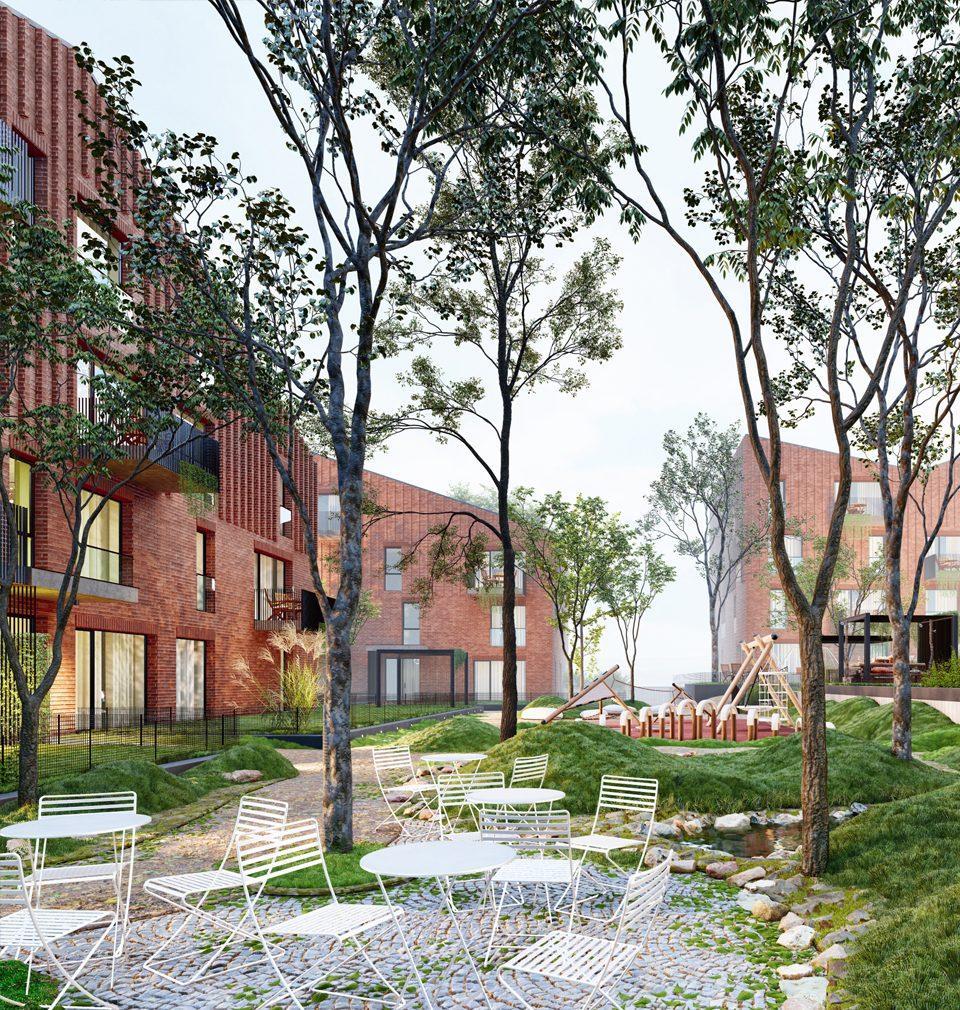 Náš tým pod vedením Alexandra Vernera navrhl čtveřici bytových domů s kvalitním veřejným prostorem