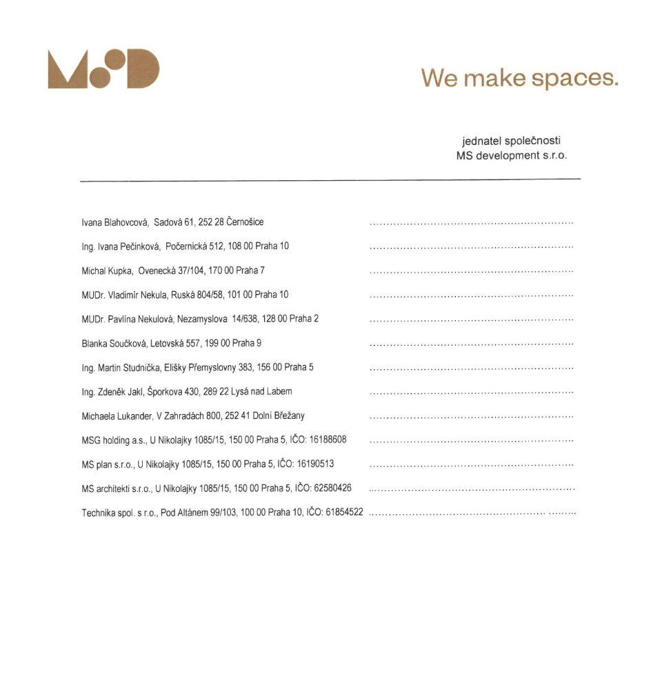 Pozvánka na Valnou hromadu MS development s.r.o.