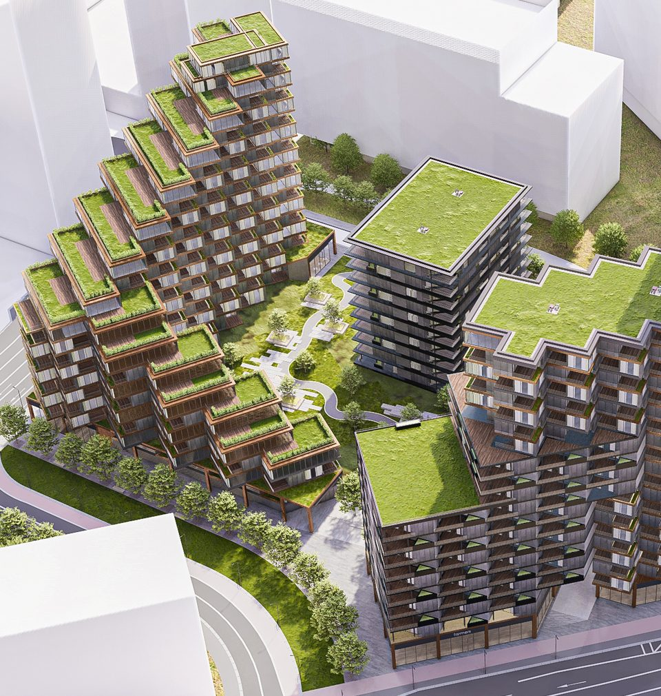 New residential building proposed for Bratislava embracing a green oasis of public space